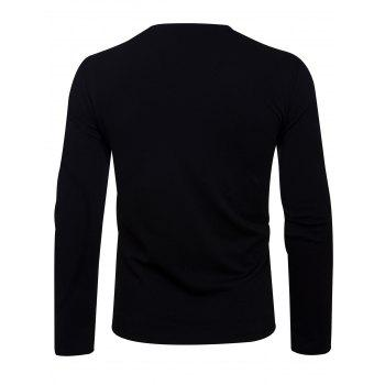 Long Sleeve Oblique Zip Up Asymmetric T-shirt - BLACK BLACK