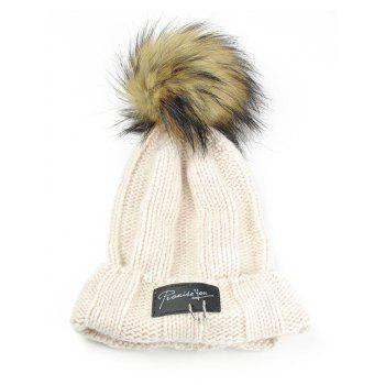 Letter Label Decorated Fuzzy Ball Knitted Beanie - BEIGE BEIGE