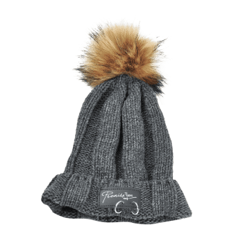 Letter Label Decorated Fuzzy Ball Knitted Beanie - DARK GRAY