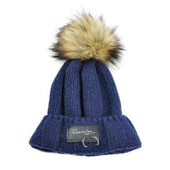 Letter Label Decorated Fuzzy Ball Knitted Beanie - CADETBLUE CADETBLUE