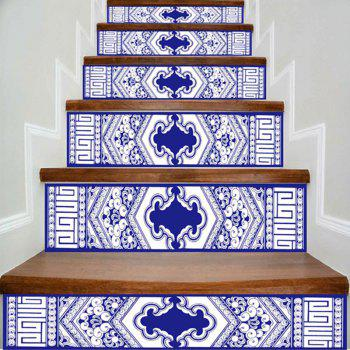 Geometric Print DIY Decorative Stair Stickers - BLUE AND WHITE BLUE/WHITE