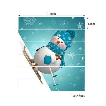 Cartoon Snowman Skiing Print 6 Pieces Home Stairs Stickers - SEASIDE 100*18CM*6PCS