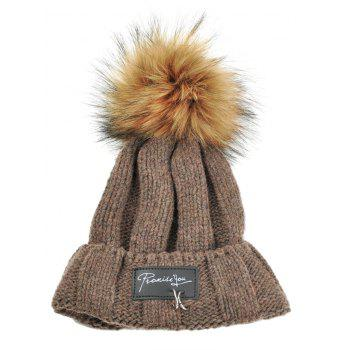 Letter Label Decorated Fuzzy Ball Knitted Beanie - COFFEE COFFEE