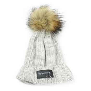 Letter Label Decorated Fuzzy Ball Knitted Beanie - LIGHT GRAY LIGHT GRAY
