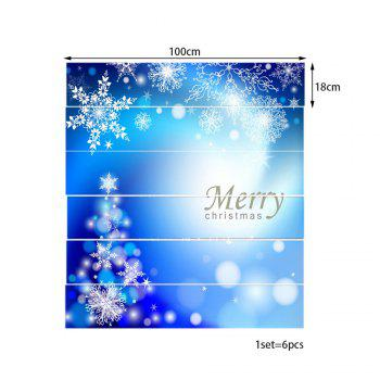 Christmas Delicate Snowflakes Print 6 Pieces Home Stairs Stickers - BLUE 100*18CM*6PCS