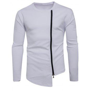 Long Sleeve Oblique Zip Up Asymmetric T-shirt - WHITE WHITE