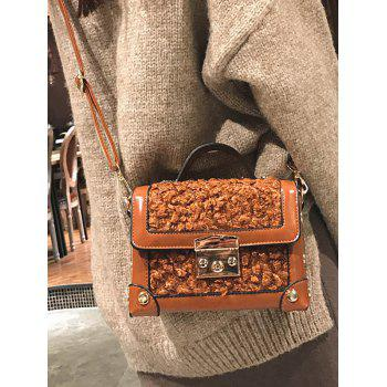 Studs Splicing Crossbody Bag With Handle - BROWN