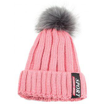 Letter Label Decorated Flanging Knitted Pom Beanie - PINK PINK