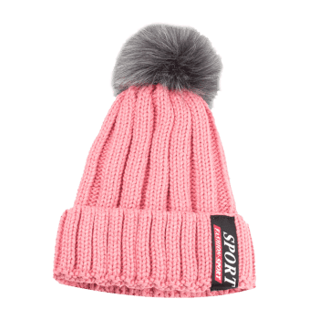 Letter Label Decorated Flanging Knitted Pom Beanie - PINK
