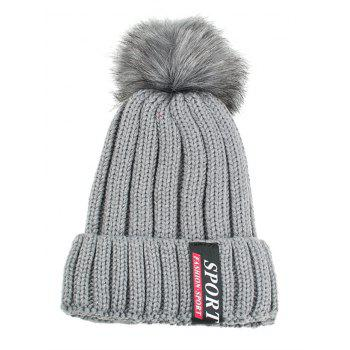 Letter Label Decorated Flanging Knitted Pom Beanie - GRAY GRAY