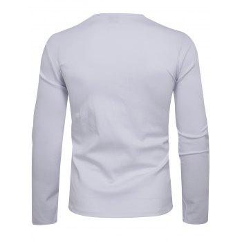 Long Sleeve Oblique Zip Up Asymmetric T-shirt - WHITE S