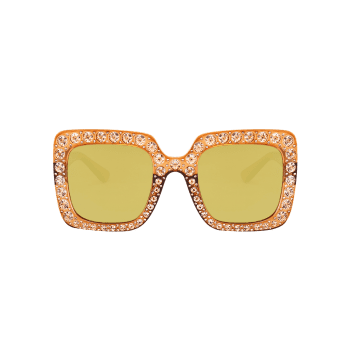 Anti UV Rhinestone Decorated Oversized Square Sunglasses -  LUXURY GOLD COLOR