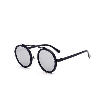 Anti UV Crossbar Decorated Round Sunglasses - BLACK+MERCURY BLACK/MERCURY