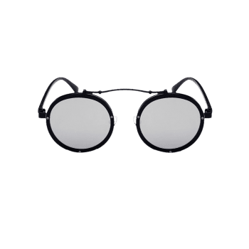 Anti UV Crossbar Decorated Round Sunglasses -  BLACK/MERCURY