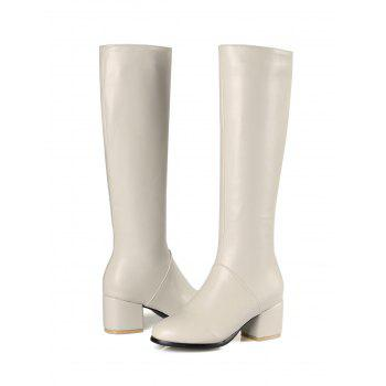 PU Leather Mid Heel Knee High Boots - WHITE 38