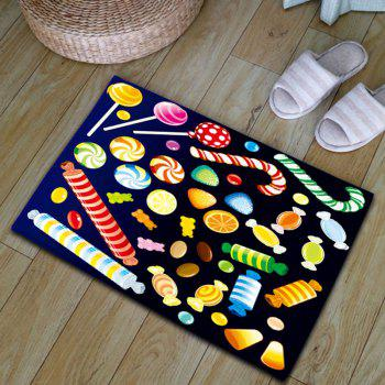 Candy Print Flannel Water Absorption Nonslip Bath Mat - COLORFUL W20 INCH * L31.5 INCH