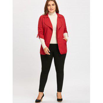 Roll Up Sleeve Plus Size  Turndown Collar Trench Coat - RED 5XL