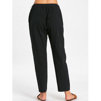 Elastic Waist Side Drawstring Pants - BLACK L