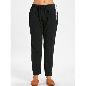 Elastic Waist Side Drawstring Pants - BLACK XL