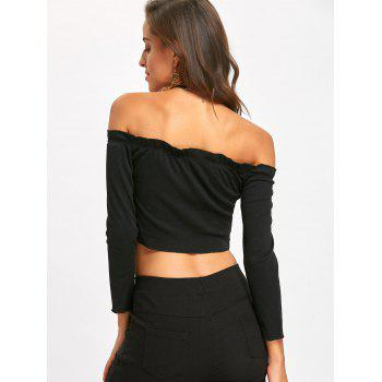 Cropped Off The Shoulder Sweater - BLACK M