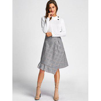 Asymmetrical Plaid Midi Skirt - GRAY GRAY