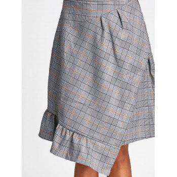 Asymmetrical Plaid Midi Skirt - GRAY L
