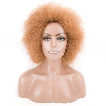 Fluffy Short Afro Curly Heat Resistant Synthetic Wig - LIGHT BROWN LIGHT BROWN