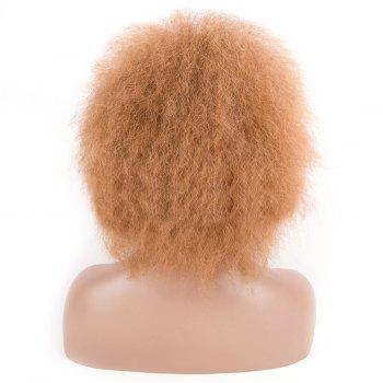 Fluffy Short Afro Curly Heat Resistant Synthetic Wig - LIGHT BROWN