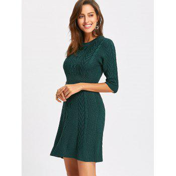 Crew Neck Cable Knitted Mini Dress - GREEN GREEN