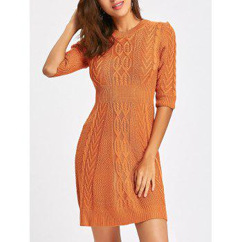 Crew Neck Cable Knitted Mini Dress - ORANGE ORANGE