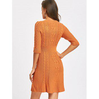 Crew Neck Cable Knitted Mini Dress - ORANGE S