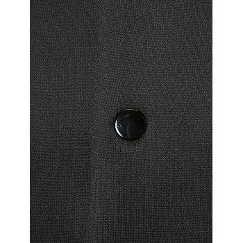 Slot Pocket Single Breasted Stand Collar Coat - BLACK 2XL