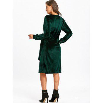 Velvet Long Sleeve Wrap Dress - BLACKISH GREEN L