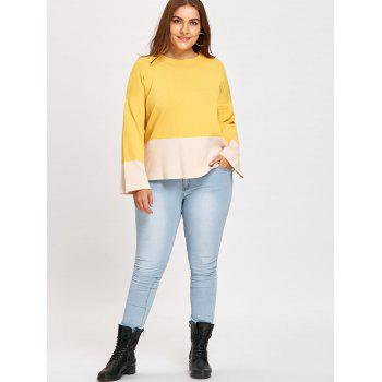 Color Block Mock Neck Plus Size Sweater - YELLOW XL