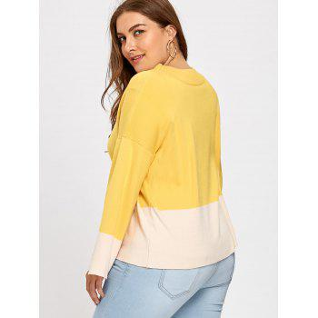 Color Block Mock Neck Plus Size Sweater - YELLOW 2XL