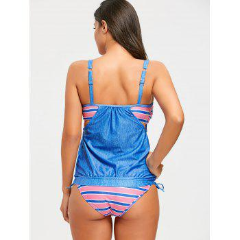 Striped Panel Spaghetti Strap Blouson Tankini Set - BLUE 2XL