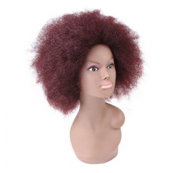 Short Bouffant Afro Curly Synthetic Wig - BORDEAUX
