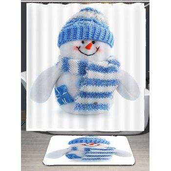 Stripes Scarf Snowman Patterned Shower Curtain - WHITE/BLUE W71 INCH * L79 INCH