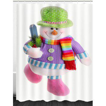 Running Snowman Patterned Shower Curtain - COLORFUL W71 INCH * L79 INCH