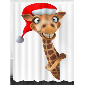 Christmas Cartoon Deer Patterned Bath Curtain - WHITE/BROWN W71 INCH * L71 INCH