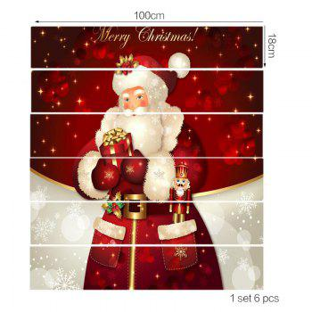 Santa Claus Patterned Stair Stickers - RED/WHITE 100*18CM*6PCS