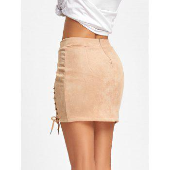 Faux Suede Lace Up Mini Skirt - APRICOT APRICOT