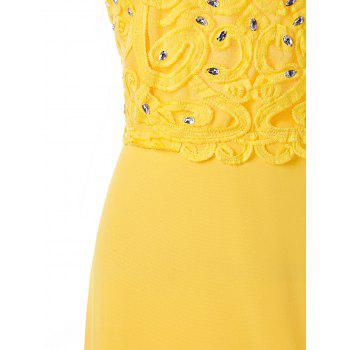 Beaded Applique Backless Prom Dress - YELLOW L