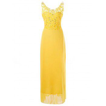 Beaded Applique Backless Prom Dress - YELLOW YELLOW