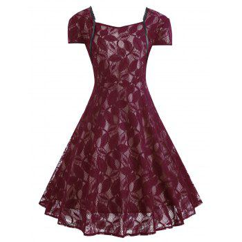 Plus Size Lace V Back Midi Vintage Party Dress - WINE RED WINE RED