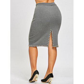 Faux Pearl Plus Size Pencil Skirt - GRAY 5XL