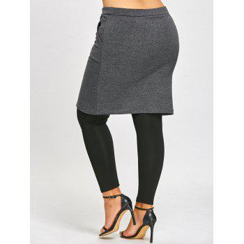 Plus Size Skirted Leggings - BLACK/GREY 3XL
