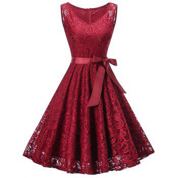 V Neck Sleeveless Lace 50s Swing Dress - WINE RED WINE RED
