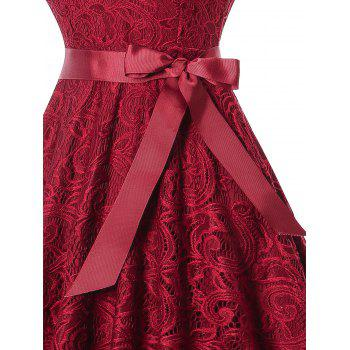 V Neck Sleeveless Lace 50s Swing Dress - WINE RED L