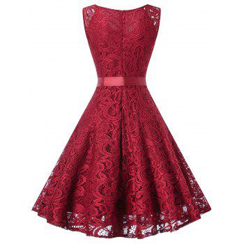 V Neck Sleeveless Lace 50s Swing Dress - WINE RED M